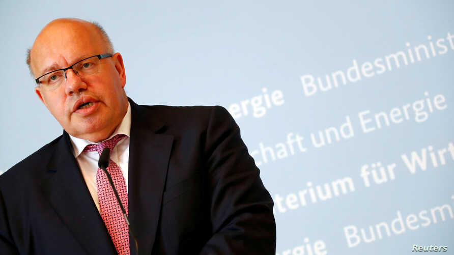 German Economic Affairs and Energy Federal Minister Peter Altmaier addresses the media in Berlin, July 17, 2018.