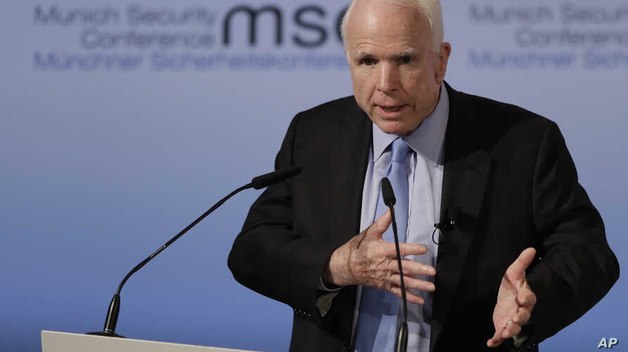 Senator John McCain, R-Ariz., speaks during the Munich Security Conference in Munich, Germany, Feb. 17, 2017. The annual weekend gathering is known for providing an open and informal platform to meet.