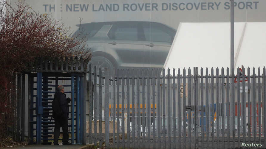 A worker arrives at Jaguar Land Rover's Halewood Plant in Liverpool, Britain, Jan. 10, 2019.