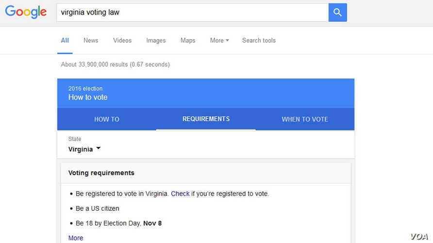A screen shot shows a fragment of election-related information Google makes available to potential voters in the eastern U.S. state of Virginia.