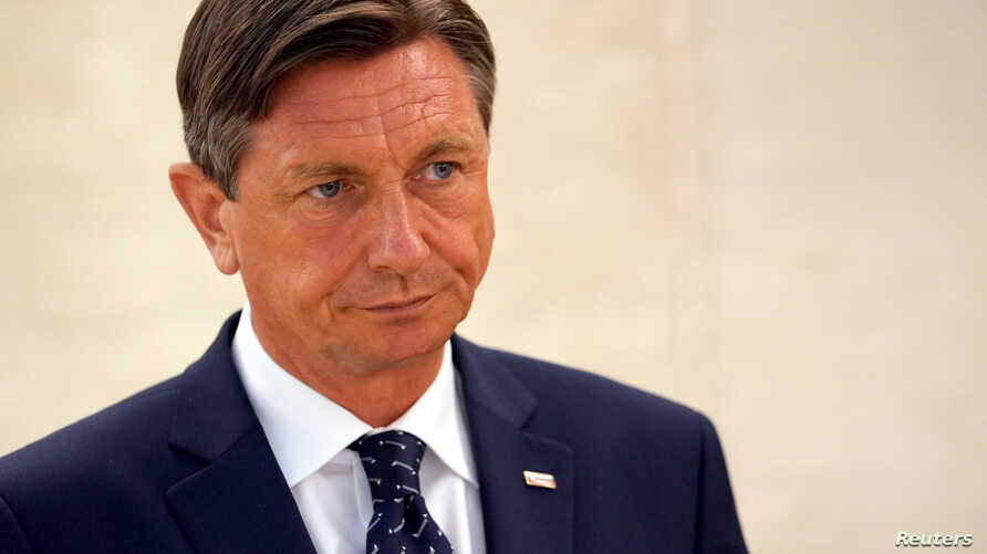 FILE - Borut Pahor President of Slovenia attends the Human Rights Council one day after the U.S. announced their withdraw at the United Nations in Geneva, Switzerland, June 20, 2018.