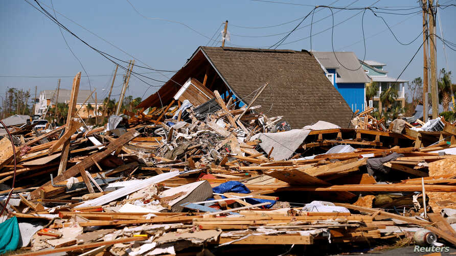 Rubble left in the aftermath of Hurricane Michael is pictured in Mexico Beach, Florida, U.S., Oct. 11, 2018.