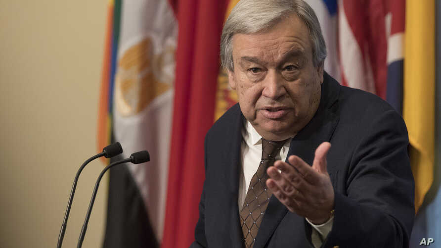 U.N. Secretary-General Antonio Guterres speaks to reporters during a news conference at the United Nations, Feb. 1, 2017.