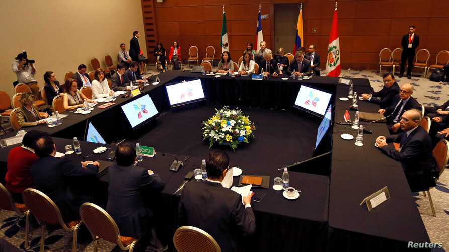 "A view of the meeting room during ""Alianza del Pacifico"" (Pacific Alliance) summit in Vina del Mar, Chile, March 14, 2017."