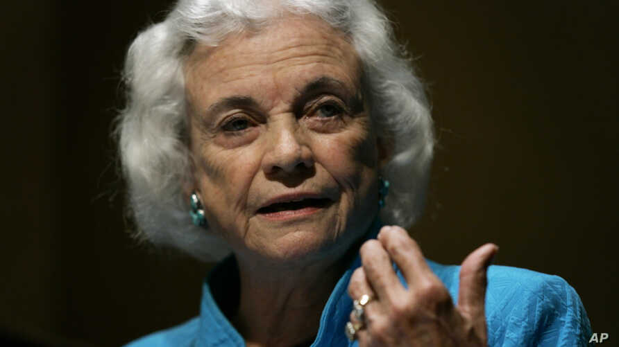 FILE - Retired U.S. Supreme Court Justice Sandra Day O'Connor addresses a meeting of Pennsylvania judges and lawyers in Harrisburg, Pa., Sept. 19, 2007.
