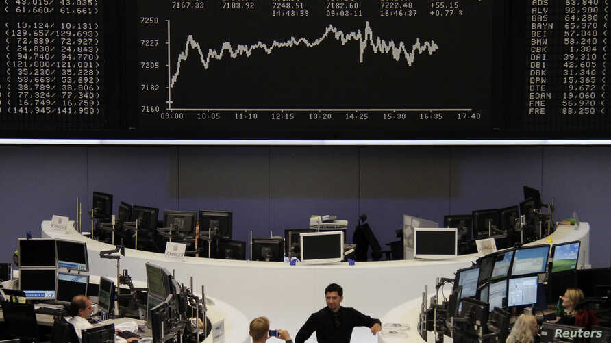 DAX board at the Frankfurt stock exchange, September 7, 2012.