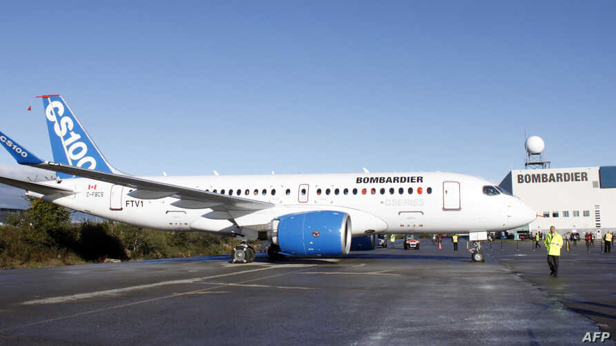 FILE -  A Bombardier CSeries aircraft is shown on the tarmac at Mirabel, Quebec, Sept. 16, 2013.