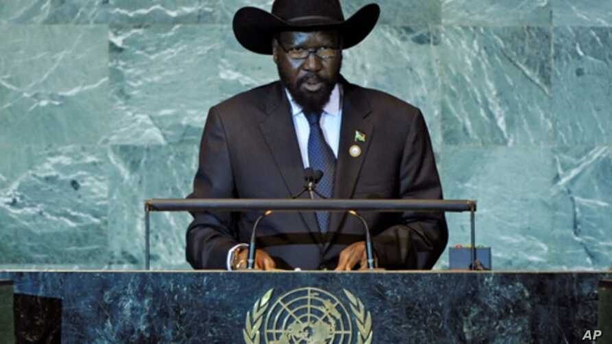 South Sudan President Salva Kiir, making his nations first presidential address to the UN General Assembly.
