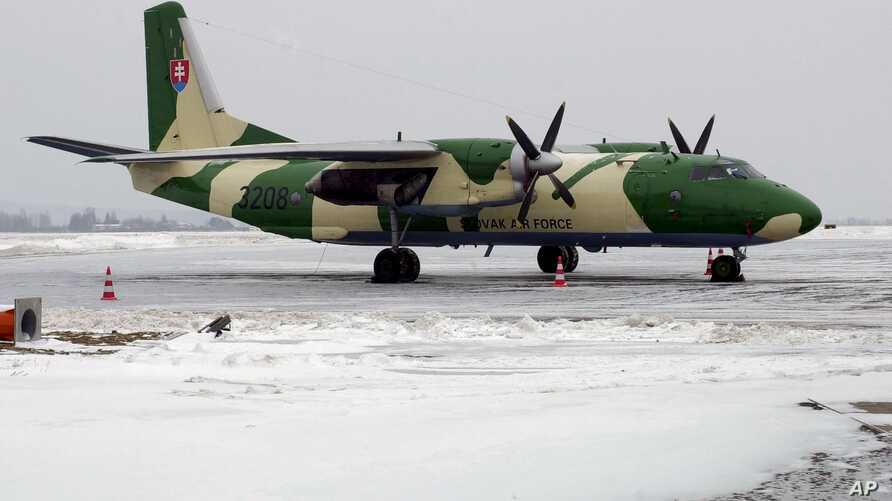 FILE - An AN-26 aircraft, belonging to the Slovak military, is pictured in Kosice, Slovakia, in January 2006. A Cuban AN-26 crashed near Candelaria, Cuba, April 29, 2017.