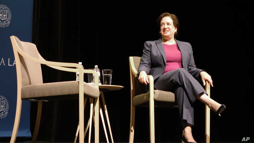 U.S. Supreme Court Justice Elena Kagan waits to begin a discussion at the University of California, Los Angeles, California, Sept. 27, 2018.