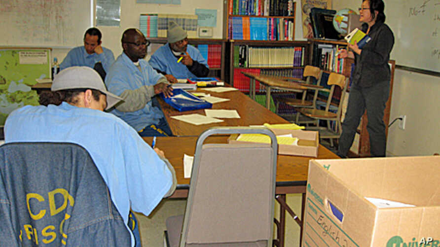 Professor Sookyoung Lee teaches a class on critical thinking and research to inmates at San Quentin prison in California.