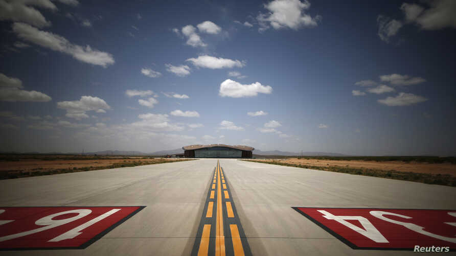Spaceport America's Virgin Galactic Gateway to Space Building is seen at the end of the road to the main runway, near Truth or Consequences, New Mexico, May 1, 2014.