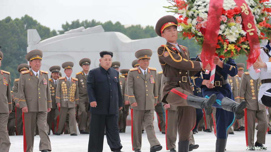 North Korean leader Kim Jong Un visits the Fatherland Liberation War Martyrs Cemetery to pay tribute to the fallen fighters of the Korean People's Army, during commemorations to mark the 62nd anniversary of the end of the 1950-53 Korean War in this u