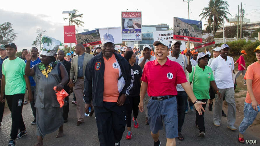 Chinese Ambassador to Tanzania Lu Youqing walks with Tanzanian officials, celebrities and conservationists during the 'Walk for Elephants' march in Dar es Salaam.