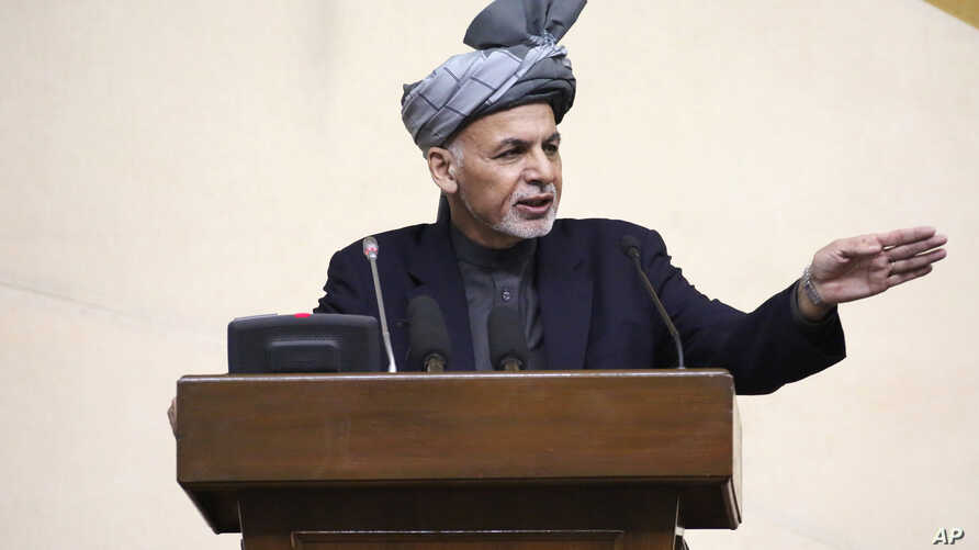 President Ashraf Ghani speaks during a joint meeting of the National Assembly in Kabul, Afghanistan, April 25, 2016.