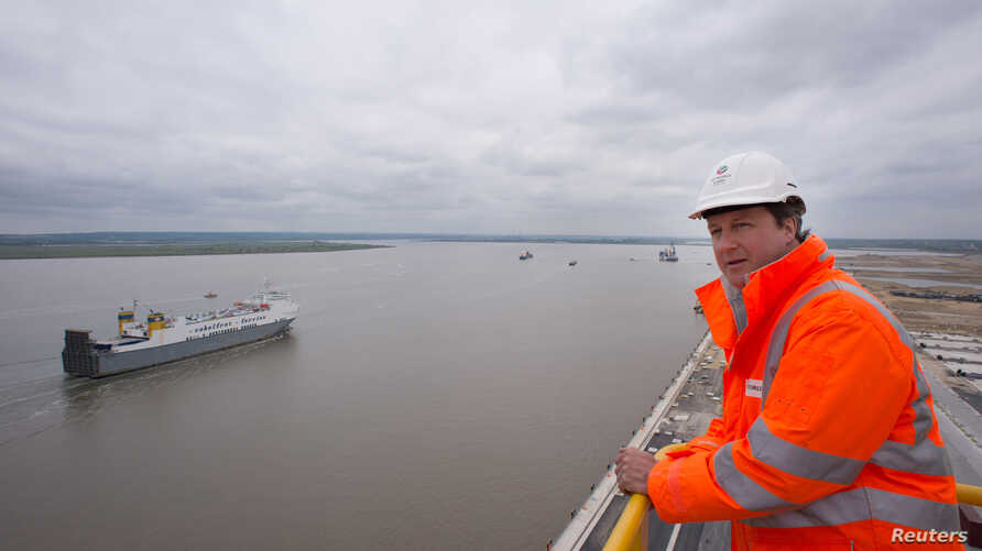 FILE - The Thames Estuary is pictured from the London Gateway container port, near Tilbury in southern England. Police on Dec. 21, 2018, said they did not think the rescue of an Italian cargo ship's crew in the estuary was piracy- or terrorism-relate