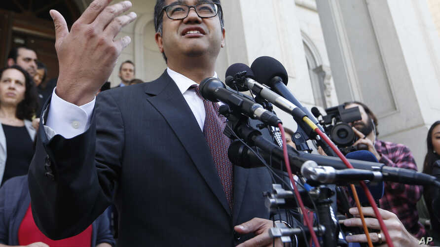 American Civil Liberties Attorney, Omar Jadwat, gestures as he speaks after a hearing before the U.S. Fourth Circuit Court of Appeals in Richmond, Virginia, May 8, 2017.