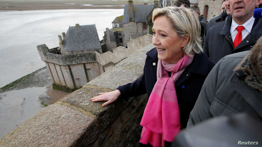 Marine Le Pen, candidate for French 2017 presidential election, visits Le Mont Saint Michel, Feb. 27, 2017.
