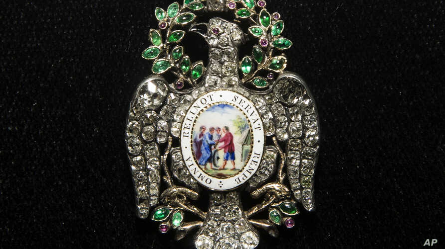The Diamond Eagle of the Society of the Cincinnati which was owned and worn by George Washington, is on display at the Museum of the American Revolution in Philadelphia, Dec. 5, 2017.