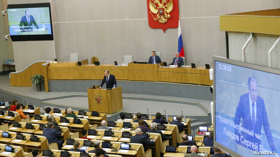 Russian Foreign Minister Sergei Lavrov delivers a speech during a session at the State Duma, the lower house of parliament, in Moscow, Russia, June 15, 2016.