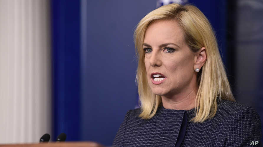 FILE - Department of Homeland Security Secretary Kirstjen Nielsen speaks at the White House in Washington, June 18, 2018. Nielson was heckled at a restaurant near the White House for defending President Donald Trump's now reversed family separation p