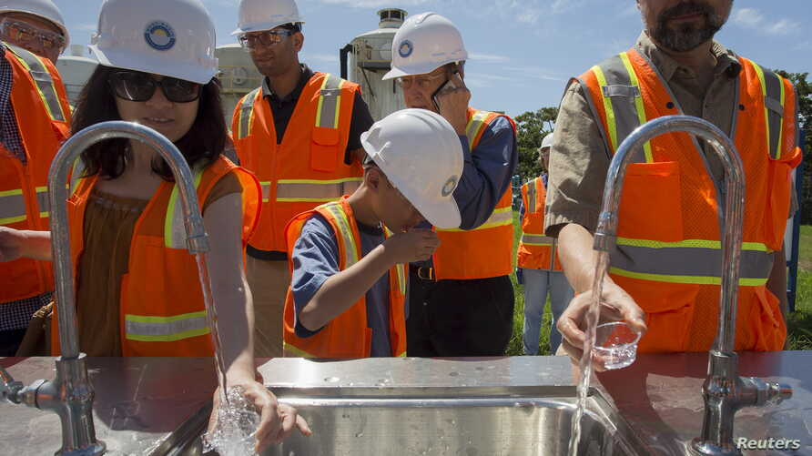 Tasting recycled wastewater at the Edward C. Little Water Recycling Facility in El Segundo, California, July 11, 2015. The Metropolitan Water District's planned $3.45 billion water recycling system would be one of the world's largest.