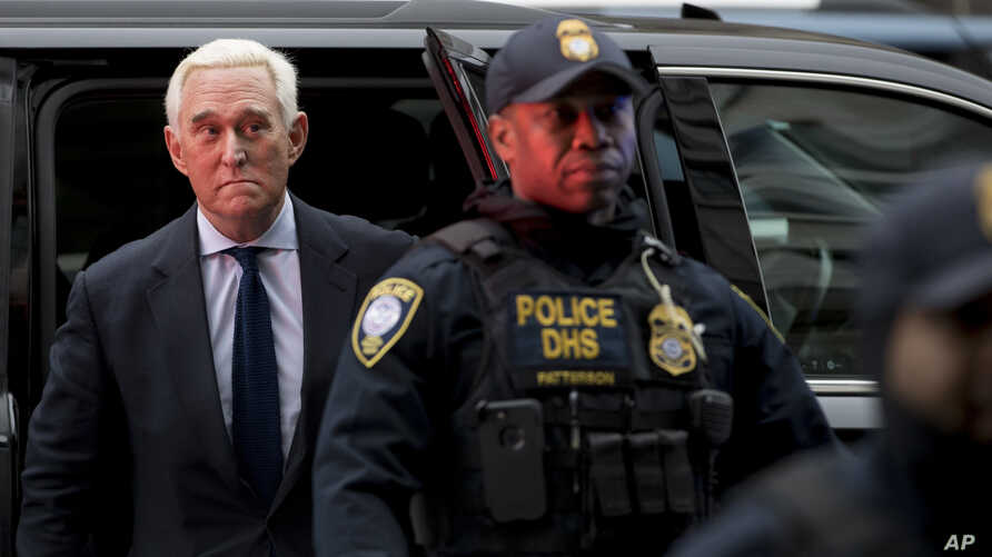 Former campaign adviser for President Donald Trump, Roger Stone arrives at Federal Court, Tuesday, Jan. 29, 2019, in Washington
