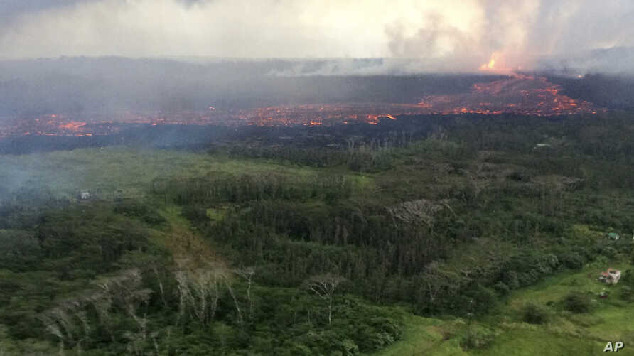 In this aerial photo provided by the U.S. Geological Survey, lava flows from fissure 8 near Pahoa, Hawaii, May 30, 2018. The lava channel was estimated to be about 100 feet wide. Fountain heights continued to reach 230 to 260 feet (70 to 80 meters) a