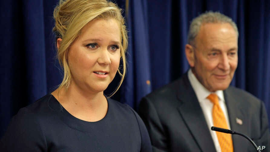 Actress Amy Schumer speaks while her distant cousin, Senator Chuck Schumer watches during a news conference in New York, Aug. 3, 2015. The Schumers are teaming up to try and enact gun control regulations.