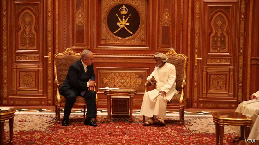 Israeli Prime Minister Benjamin Netanyahu left meets with Sultan Qaboos bin Said, the ruler of Oman, in a photo posted on Netanyahu's Twitter feed. (Twitter - @netanyahu)