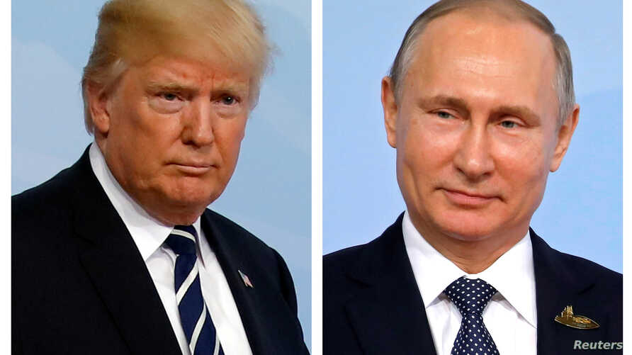 FILE - A combination of two photos shows U.S. President Donald Trump and Russian President Vladimir Putin as they arrive for the G-20 summit in Hamburg, Germany, July 7, 2017.