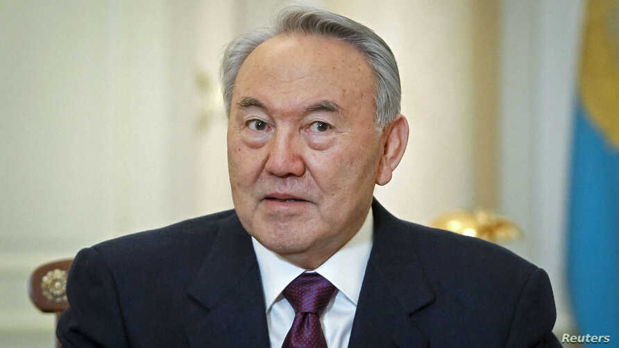 Kazakhstan's President Nursultan Nazarbayev attends a meeting at his office in Almaty, Feb. 25, 2013.