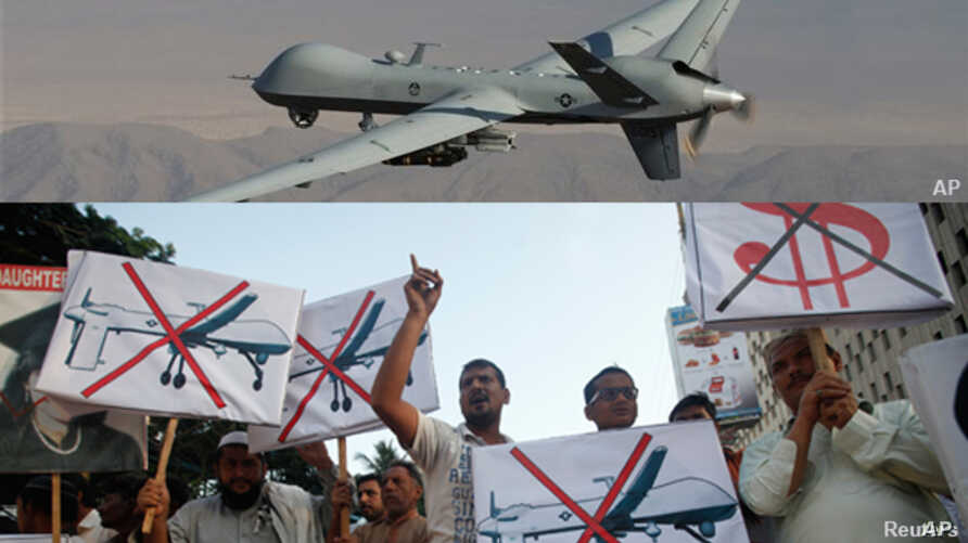 In this composite image, is a U.S. Air Force drone that was piloted during missions over the tribal regions of Pakistan and Afghanistan.The bottom photo shows Pakistan's Islamist party Pasban protesting against US drone attacks in the Pakistani triba