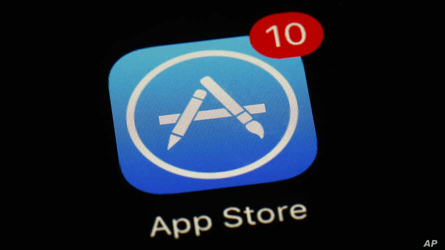 FILE - Apple's App Store app is seen on a smartphone in Baltimore, March 19, 2018.