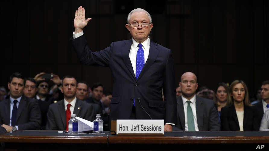 Attorney General Jeff Sessions is sworn in before the Senate Judiciary Committee on Capitol Hill in Washington, Oct. 18, 2017.