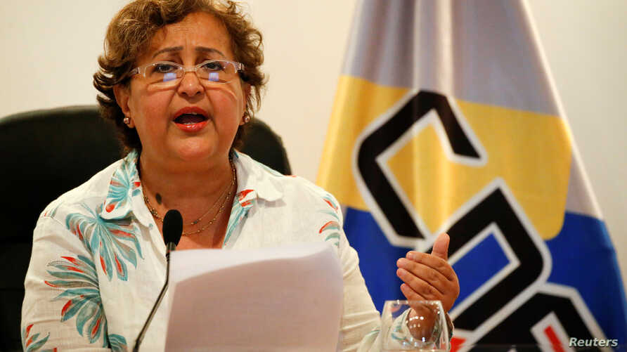 Venezuela's National Electoral Council (CNE) President Tibisay Lucena speaks during a news conference in Caracas, Venezuela, Aug. 1, 2016.