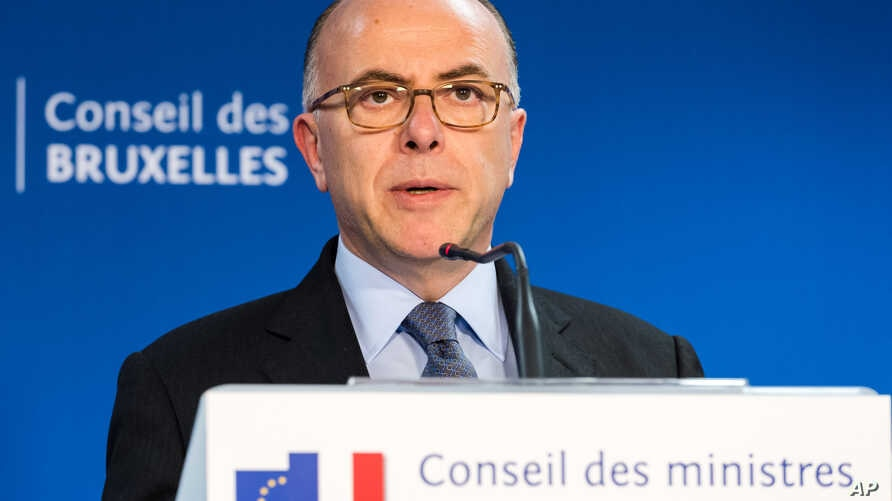 French Interior Minister Bernard Cazeneuve addresses the media during an extraordinary meeting of EU interior and justice ministers at the EU Council building in Brussels, Belgium, March 24, 2016.