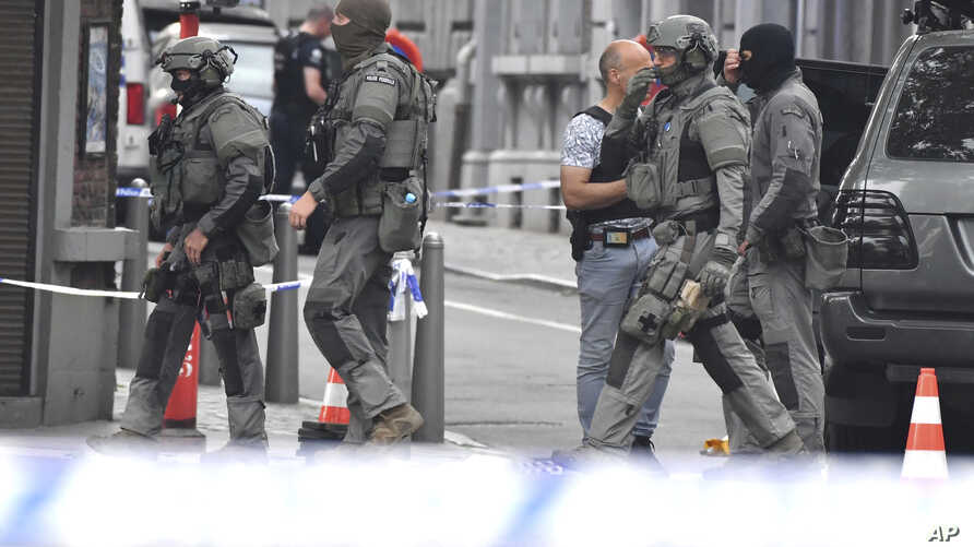 Belgian Special Police at the scene of a shooting in Liege, Belgium, May 29, 2018.
