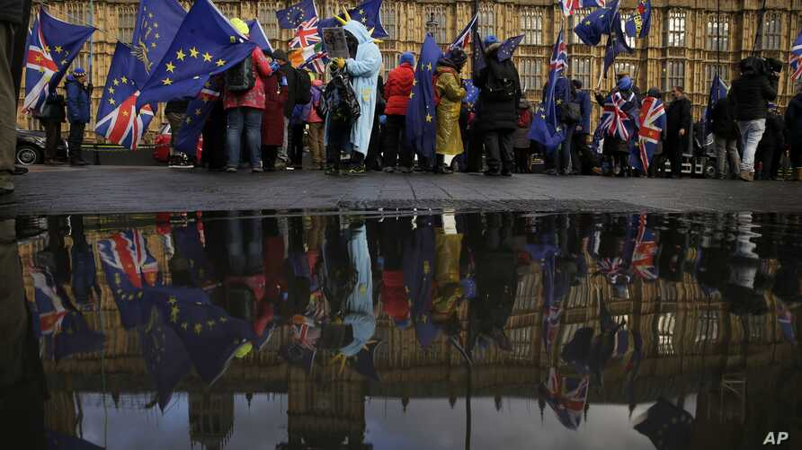 Anti-Brexit remain in the European Union supporters, take part in a protest outside the House of Parliament in London, March 12, 2019.