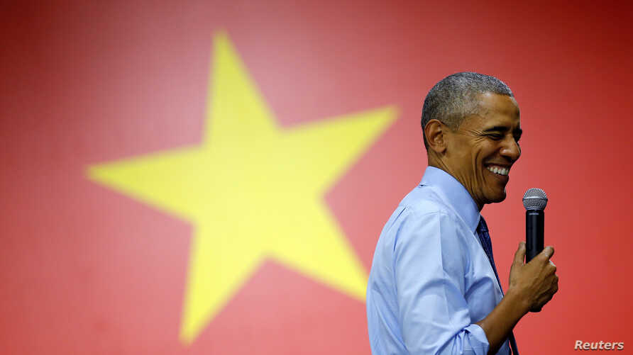 U.S. President Barack Obama reacts as he attends a town hall meeting with members of the Young Southeast Asian Leaders Initiative (YSEALI) at the GEM Center in Ho Chi Minh City, Vietnam, May 25, 2016.