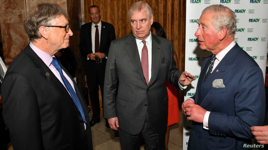 Bill Gates talks to Britain's Prince Andrew and Charles, Prince of Wales, during the Malaria Summit in London April 18, 2018.