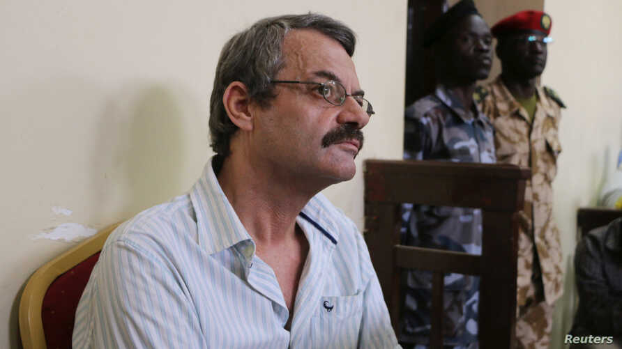 William John Endley, a South African national and an adviser to South Sudanese rebel leader Riek Machar, sits in the dock, in the High Court in Juba, South Sudan, Feb. 23, 2018.