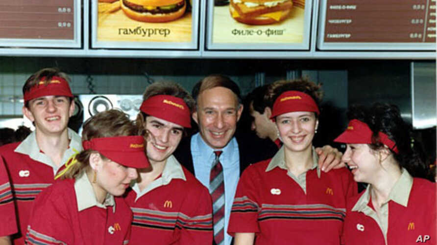 McDonald's crew and founder at the opening in Pushkin Square, 31 Jan 1990