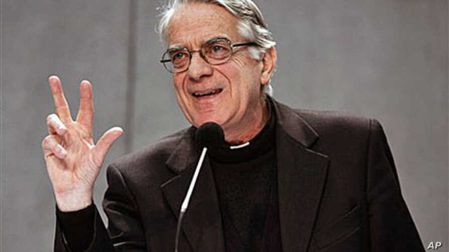 Vatican spokesman Rev. Federico Lombardi speaks to the media about a decree passed by the Vatican bank to comply with international rules to fight money laundering and terrorist financing, at the Vatican press hall, Dec 30, 2010