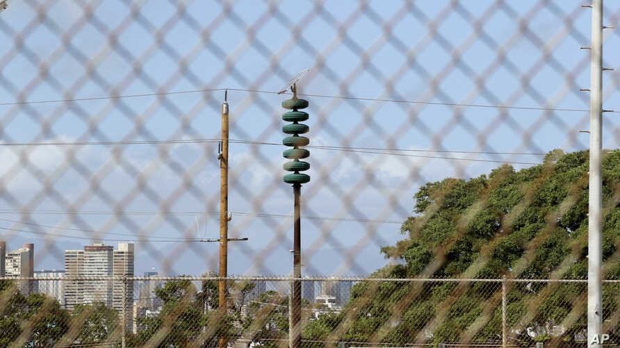 A Hawaii Civil Defense Warning Device, which sounds an alert siren during natural disasters, is shown in Honolulu, Nov. 29, 2017.