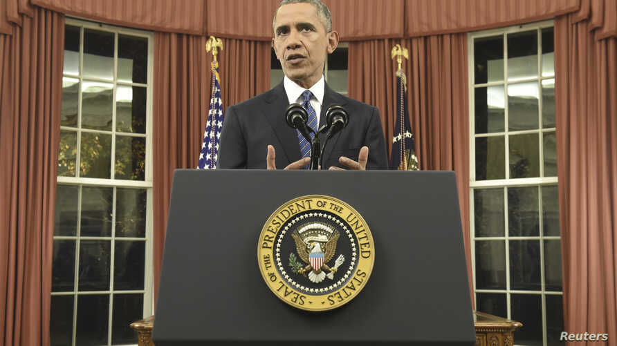 President Barack Obama speaks about counter-terrorism and the United States' fight against the Islamic State group during an address to the nation from the Oval Office of the White House in Washington, Dec. 6, 2015.