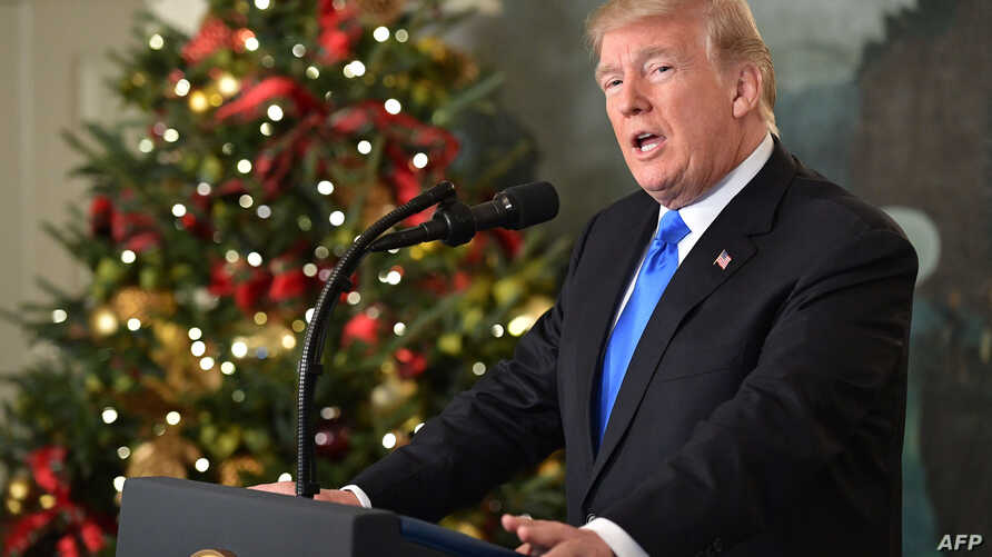 US President Donald Trump delivers a statement on Jerusalem from the Diplomatic Reception Room of the White House in Washington, D.C. on Dec. 6, 2017.