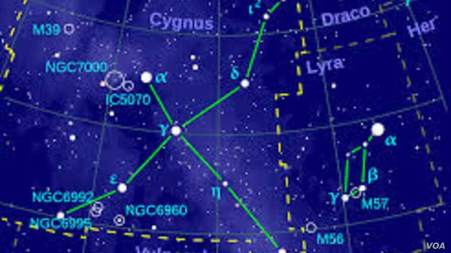 The Northern Cross of the Cygnus constellation is seen in this stellar map. Astronomers believe two stars in this system are going to collide in five years.