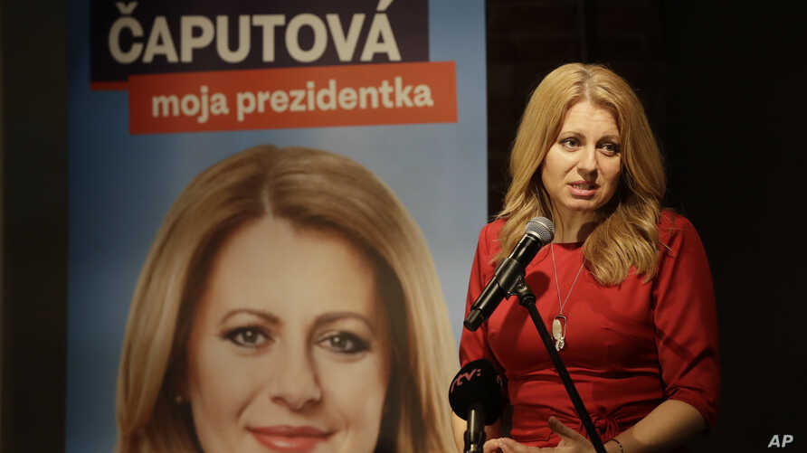 Presidential candidate Zuzana Caputova addresses the media following the first round of presidential elections, in Bratislava, Slovakia, March 16, 2019.
