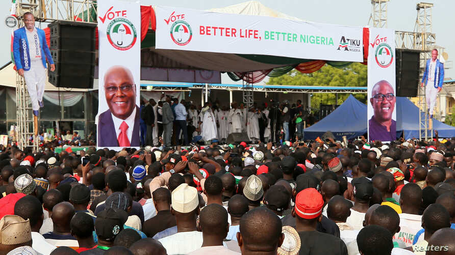 Supporters of the People's Democratic Party (PDP) attend a campaign rally in Lafia, Nigeria January 10, 2019. Picture taken January 10, 2019.